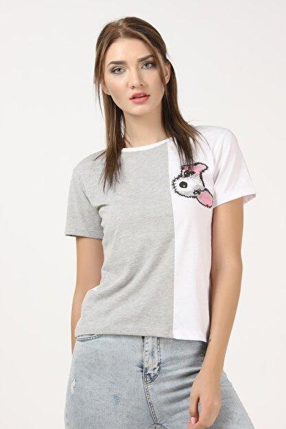 Tena Moda Kadın Gri-beyaz Parçalı Köpek Baskılı Tişört