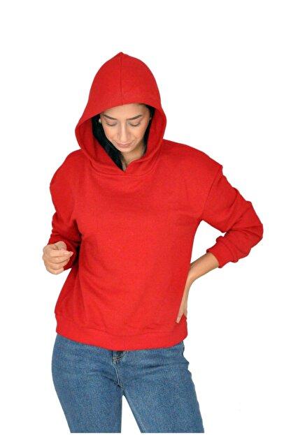 bck Kırmızı Kapüşonlu Sweatshirt