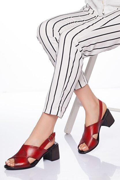 derithy Kadın Kırmızı Hakiki Deri Sandalet