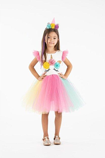 Minik Dolap Kız Çocuk Pembe Taçlı Unicorn Parti Elbisesi