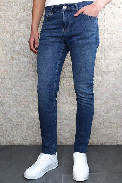 Collezione Collezıone Keven Koyu Mavi Taşlamalı Slim Fit Kot Pantolon