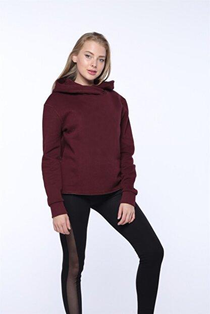 Mlike Fashion Kanguru Cepli Bordo Kapşonlu Kadın Sweatshirt