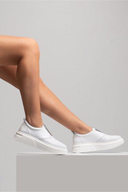 GRADA Beyaz Önden Lastikli  Hakiki Deri Sneaker Ayakkabı