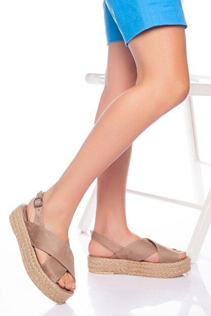 derithy Kadın Vizon Süet Sandalet