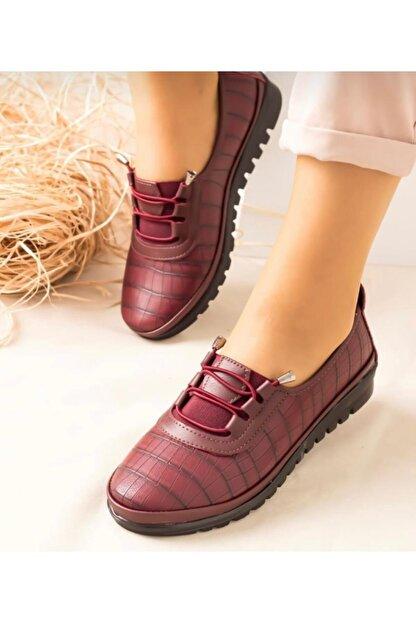 SAYKMAR Kadın Bordo Babet Ayakkabı