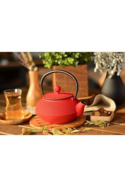 Bambum Linden - Sümbül 800 Ml Kırmızı Döküm Çaydanlık