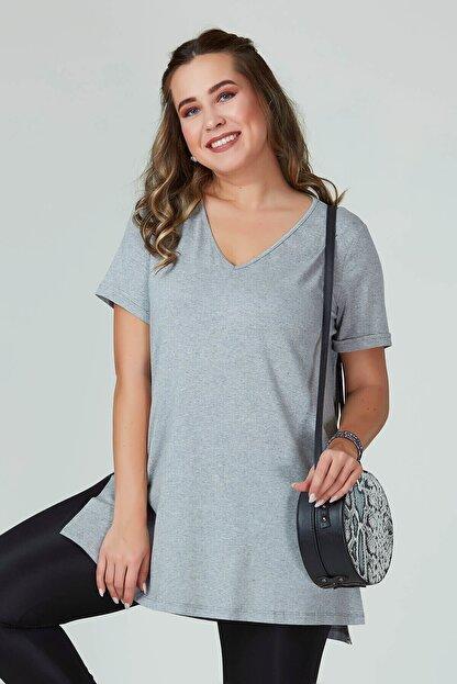 Büyük Moda Kadın Gri V Yaka Basıc Tişört
