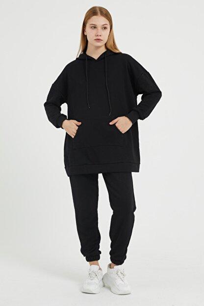 Giyinsende Kanguru Cep Eşofman Takımı Siyah