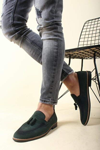 Oksit Erkek Yeşil Püskülü Loafer Ayakkabı