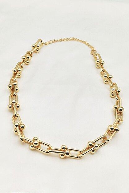 Lolita Takı Kadın Altın Sarısı Renk Kalın Zincir Kolye