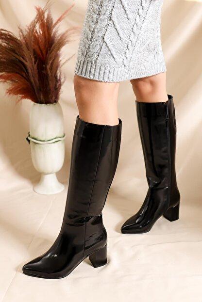 Deripabuc Hakiki Deri Siyah Rugan Kadın Deri Çizme Dp02-0404