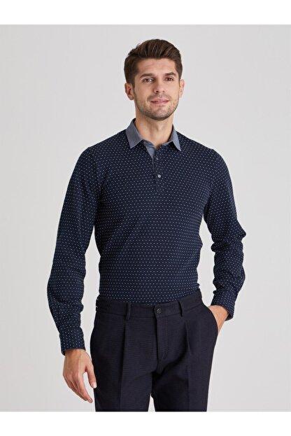 Dufy Erkek Lacivert Polo Yaka Baskılı  Sweatshirt