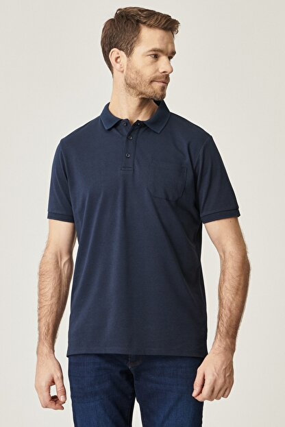 Altınyıldız Classics Erkek Lacivert Polo Yaka Cepli Regular Fit Bol Kesim Düz Tişört
