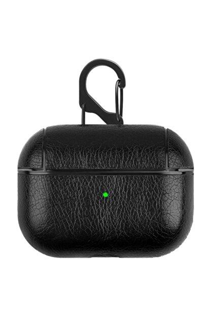 TahTicMer Apple Airpods Pro Kulaklık Koruma Deri Kılıf Siyah