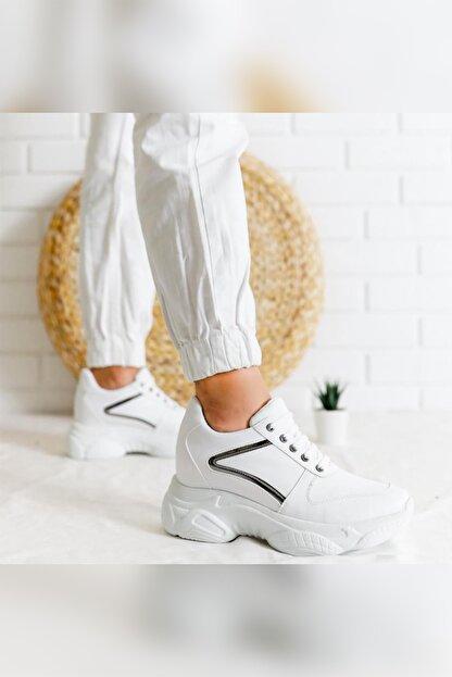 Limoya Kadın Beyaz Gümüş Detaylı Bağcıklı Gizli Topuklu Sneakers