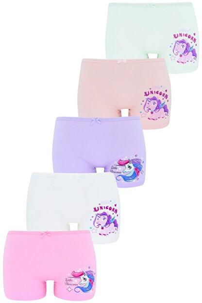 biyokids Kız Çocuk Boxer  Paket Karışık Renk Unicorn Baskılı Boxer 5 Li