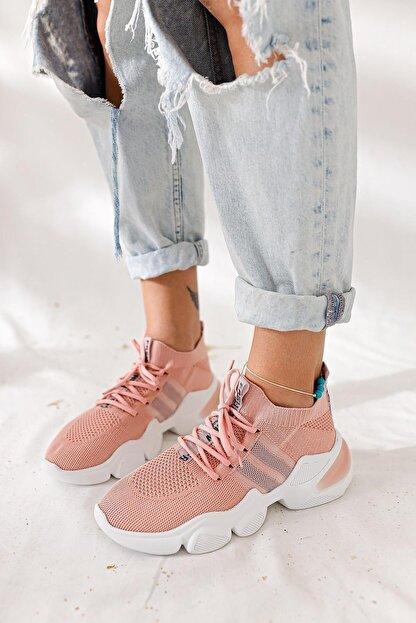 Limoya Kadın Pudra Triko Strech Sneaker