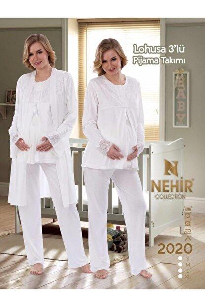 Nehir 2020 Hamile Lohusa Pijama Sabahlık 3lü Takım