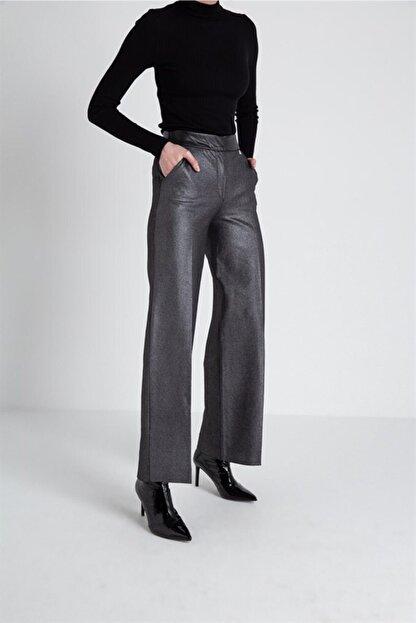FRACOMINA Parlak Görünümlü, Yüksek Bel Siyah Pantolon