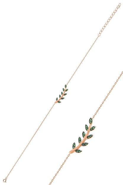 Söğütlü Silver Gümüş Rose Yeşil Taşlı Yaprak Bileklik