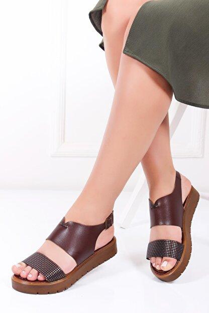 Deripabuc Hakiki Deri Kahve X6 Kadın Deri Sandalet Dp-0093