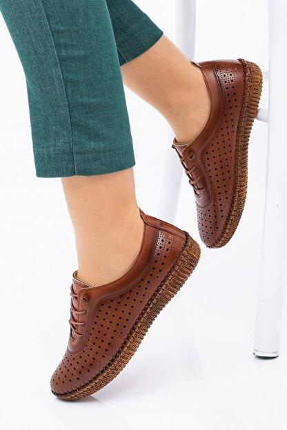 Hoba Kadın Kahverengi Delikli Bağcıklı Hakiki Deri Ayakkabı