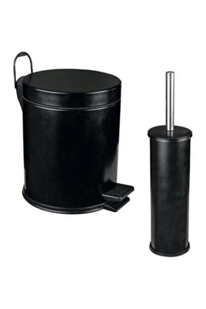Berta Hijyen Berta 2'li Siyah Banyo Seti Çöp Kovası Tuvalet Fırçası