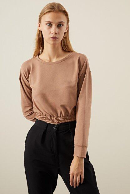 Tena Moda Kadın Bisküvi Beli Lastikli Crop Sweatshirt