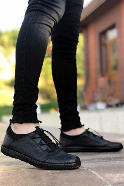 BIG KING Siyah Hakiki Deri Ortopedik Çarık Ayakkabı