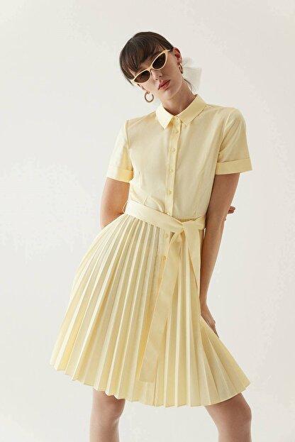 Rue Sarı Kuşaklı Midi Gömlek Elbise
