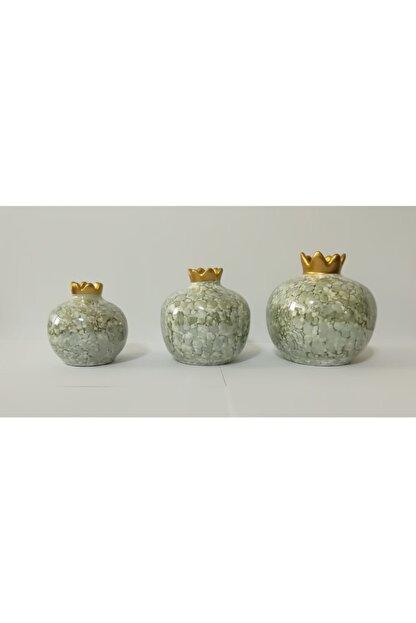 YEDİTEPE ÇİNİ Seramik Metalik Yaldızlı Ebruli 3 Lü Nar Seti-yeşil-el Işi-dekoratif-hediyelik