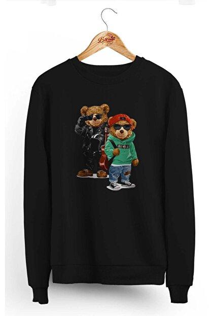 Burlu Kanka Cool Ayılar Üç Iplik Sweatshirt