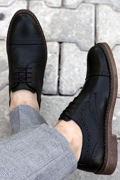 BIG KING Siyah Hakiki Deri Desenli Erkek Klasik Ayakkabı