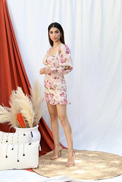 Tuba Butik Çiçek Desen Şifon Elbise