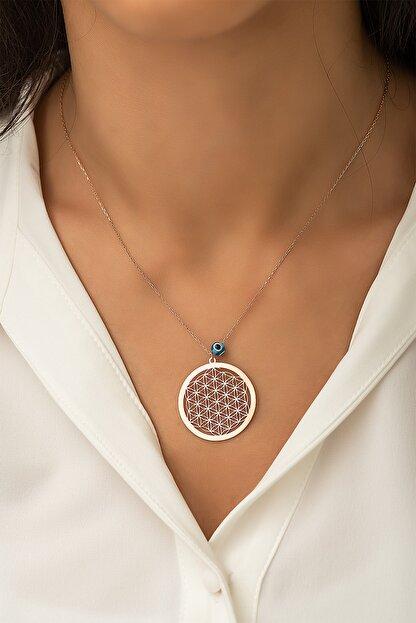 Papatya Silver Yaşam Çiçeği Nazar Gözlü Rose Altın Kaplama 925 Ayar Gümüş Kolye - Uvps100112