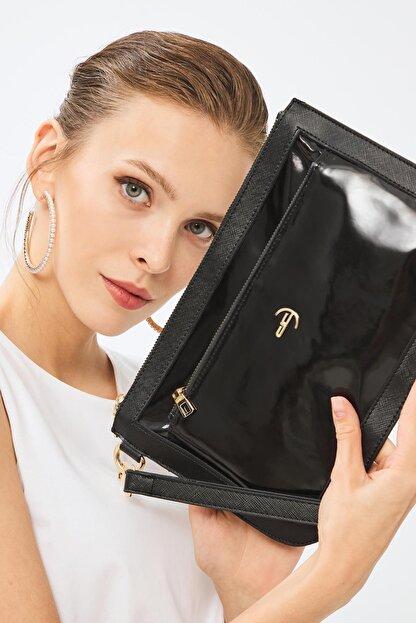 Deri Company Kadın Basic Clutch Çanta Rugan Siyah 214003
