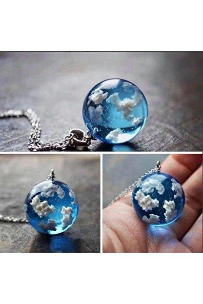 HENO BUTİK Mavi Bulut Zincir Kolye