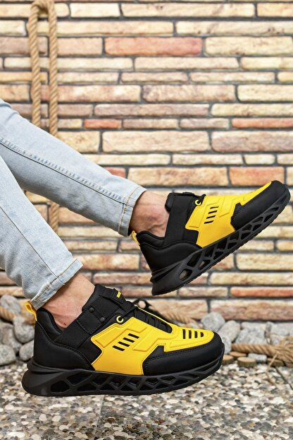 Riccon Siyah Sarı Erkek Sneaker 00122021