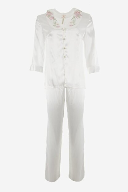 Karmen Nakış Detaylı Saten Pijama Takımı