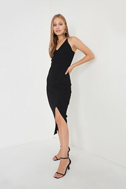 Miyore Çapraz Askılı Triko Elbise- Siyah