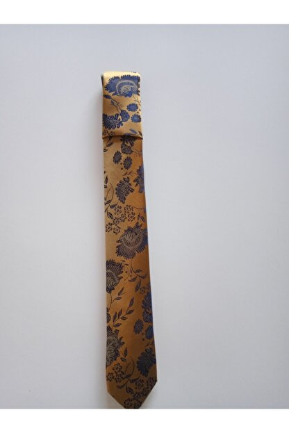 bentıes Benties Hardal Çiçek Desen Mendilli Kravat Set Ince 6 Cm K34