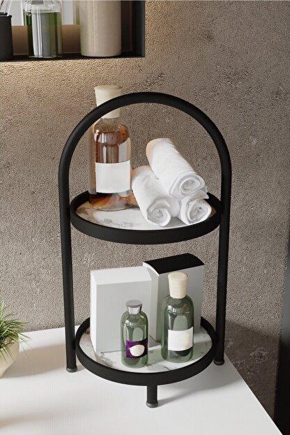 LİLLA HOME 2 Katlı Beyaz Mermer Desenli Kozmetik Takı Banyo Düzenleyici Organizeri 41 Cm