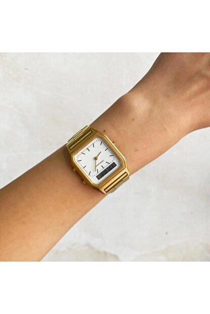 OQQO Beyaz Kadran Gold Çift Göstergeli Saat