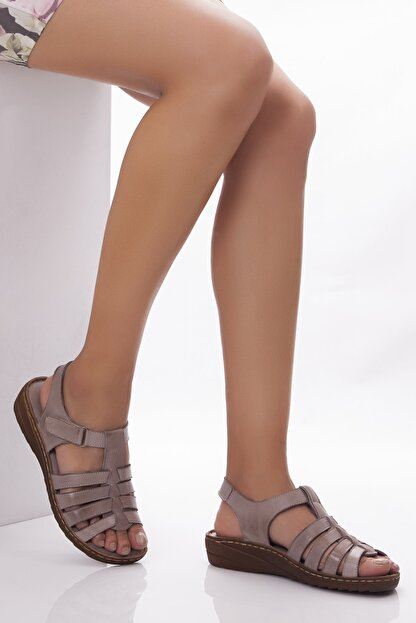 Deripabuc Hakiki Deri Dark Stone Kadın Deri Sandalet Dp05-0246