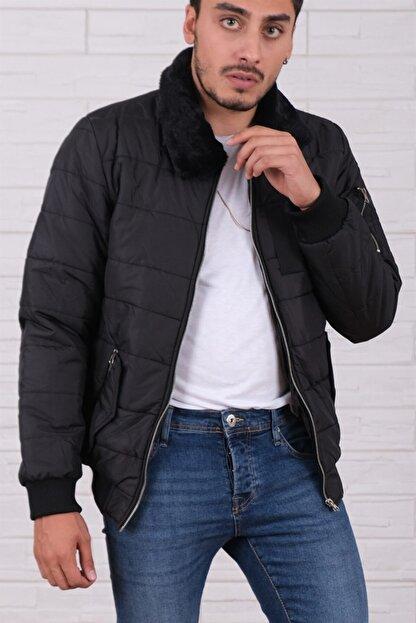 Arlin Erkek Yakası Kürklü Cepli Fermuarlı Slim Fit Siyah Mont