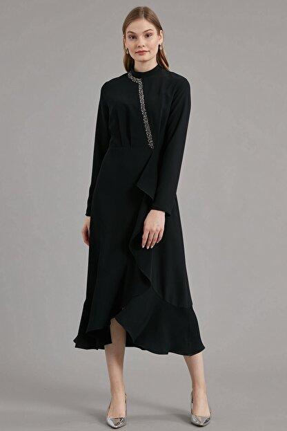 Journey Elbise- Yarım Balıkçı Ön Bant Boncuk Işleme, Volan Detaylı