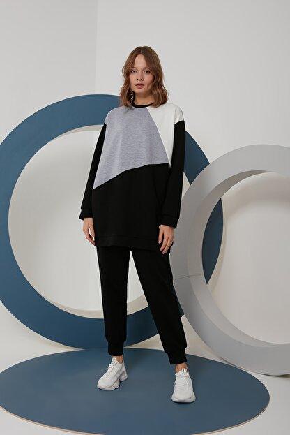 oia W-0924 Siyah Gri Ekru Geometrik Tunik Pantolon Takım Eşofman Takım