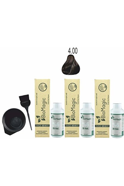 BioMagic Organik Keratin+argan'lı Saç Boyası 4.00 Kahve 60ml X3 Adet+oksidan 90ml+boyama Seti