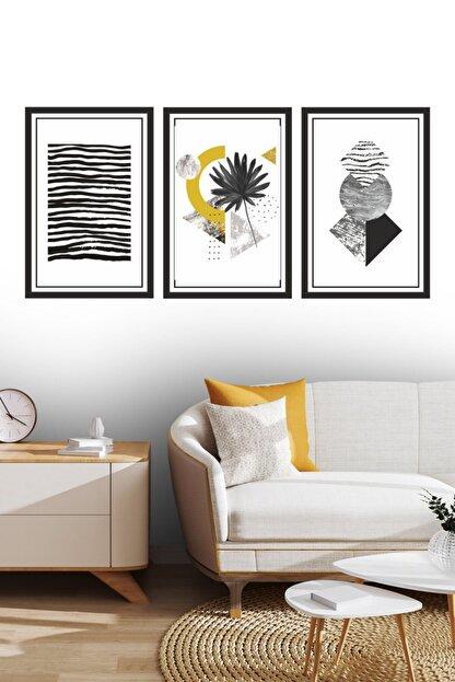Dekor Sevgisi 3 Parça Çerçeve Görünümlü Siyah Sarı Dekoratif Tablo Seti 30x20cm 3mm