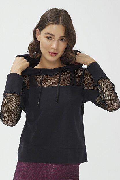 Penti Siyah Fishnet Detailed Sweatshirt